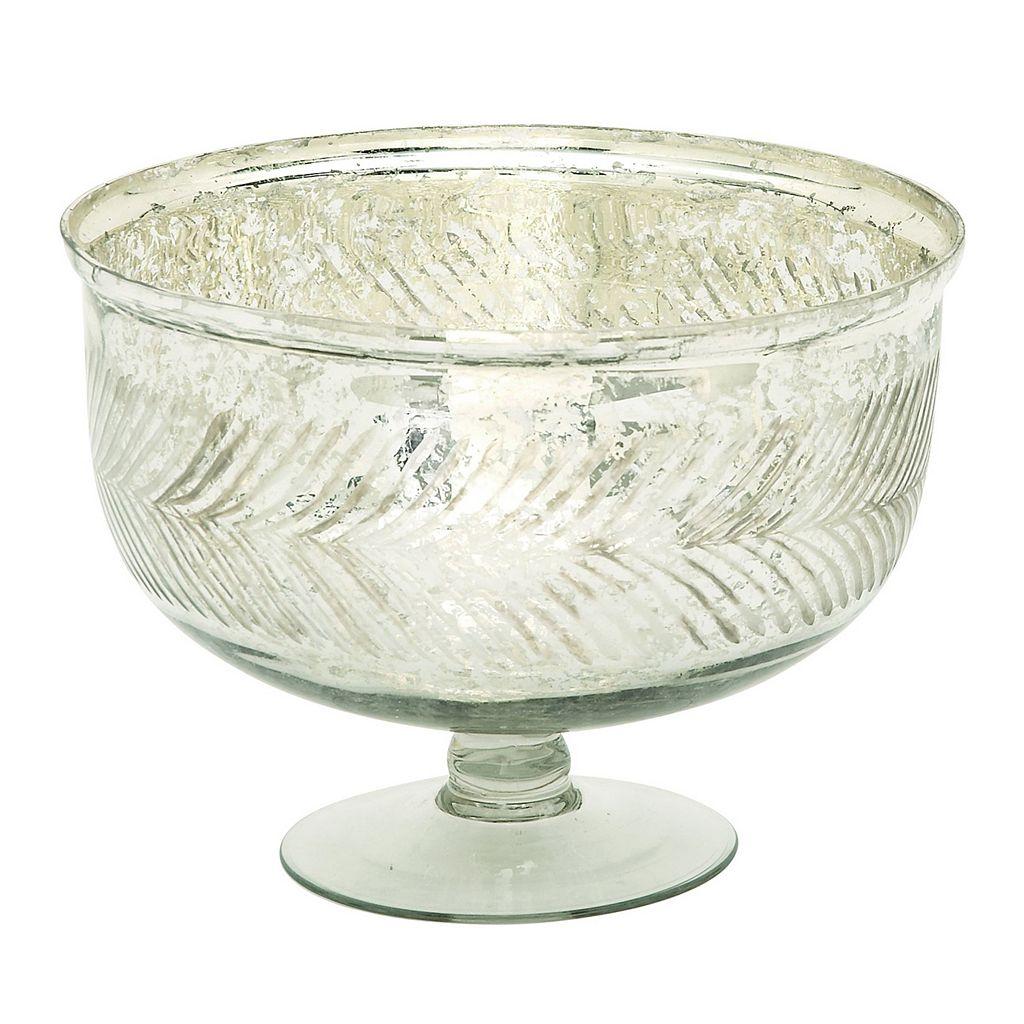 Decorative Silver Finish Glass Bowl Table Decor