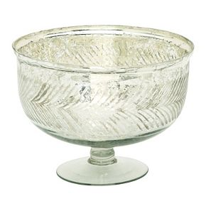 Decorative Silver Finish Glass Bowl Table Decor