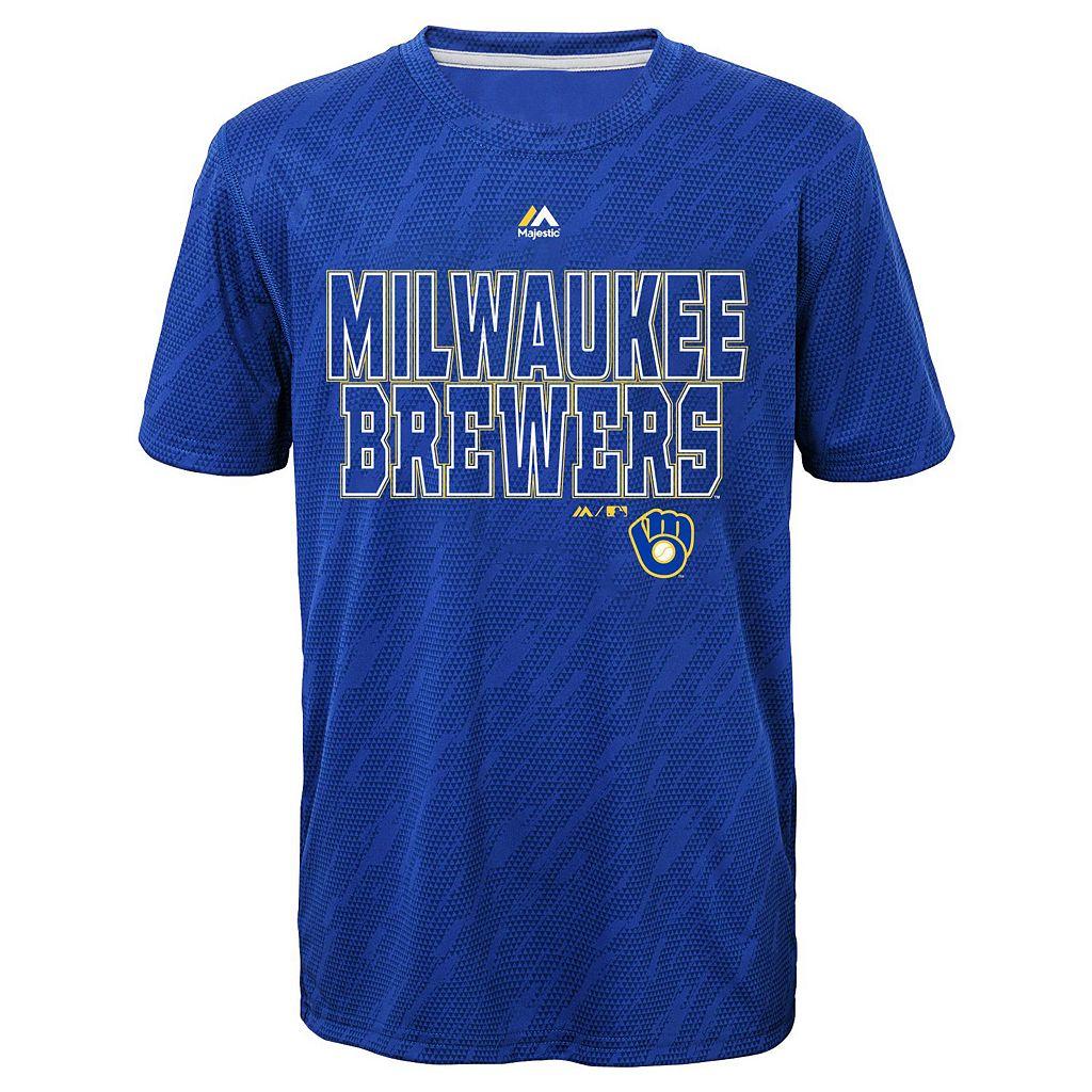 Boys 8-20 Majestic Milwaukee Brewers Geo Fuse Sublimated Cool Base Tee