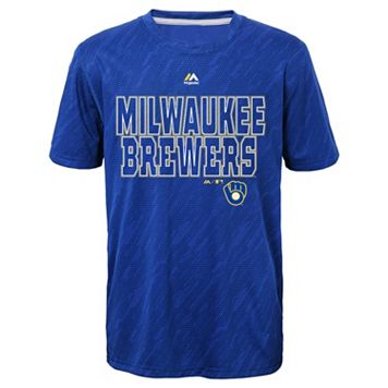 Boys 8-20 Majestic Milwaukee Brewers Geo Fuse Sublimated Cool Base Tee