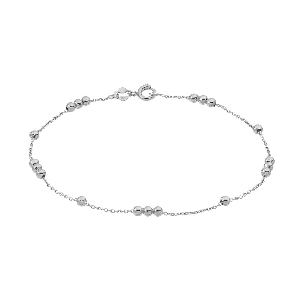 Barefootsies Silver Plated Beaded Anklet