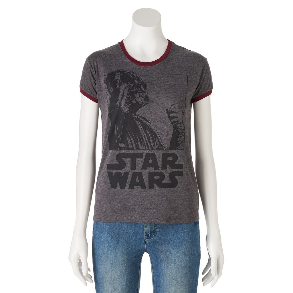 Juniors' Star Wars Darth Vader Ringer Graphic Tee