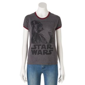 Juniors' Star Wars Darth Vader Ringer Graphic Tee