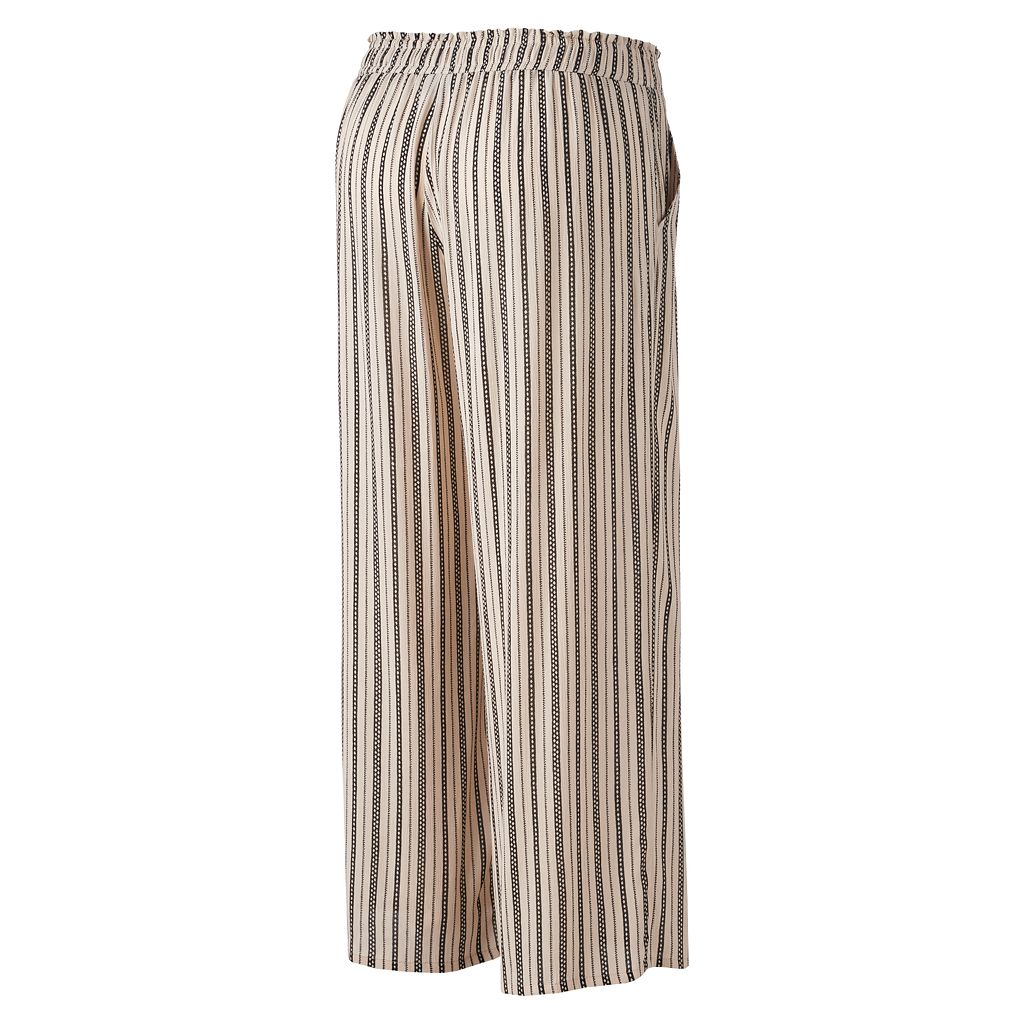 Juniors' Plus Size Joe B Wide-Stripe Palazzo Pants