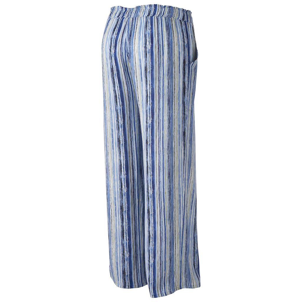 Juniors' Plus Size Joe B Striped Palazzo Pants