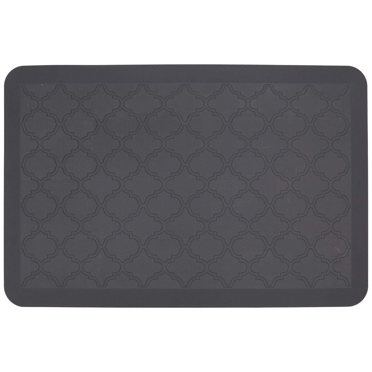 Food Network™ Ultra Comfort Tavertine Lattice Kitchen Mat. Gray Black