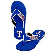 Men's Forever Collectibles Texas Rangers Locker Label Contour Flip-Flops
