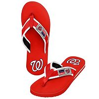 Men's Forever Collectibles Washington Nationals Locker Label Contour Flip-Flops
