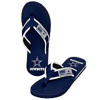 Men's Forever Collectibles Dallas Cowboys Locker Label Contour Flip-Flops