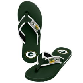 Men's Forever Collectibles Green Bay Packers Locker Label Contour Flip-Flops