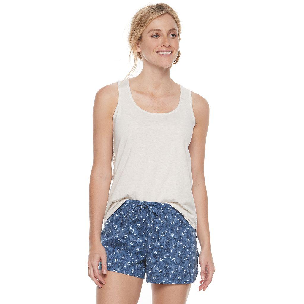 Women's SONOMA Goods for Life™ Pajamas: Crochet Trim Tank & Shorts PJ Set