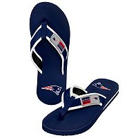 Men's Forever Collectibles New England Patriots Locker Label Contour Flip-Flops