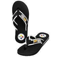 Men's Forever Collectibles Pittsburgh Steelers Locker Label Contour Flip-Flops