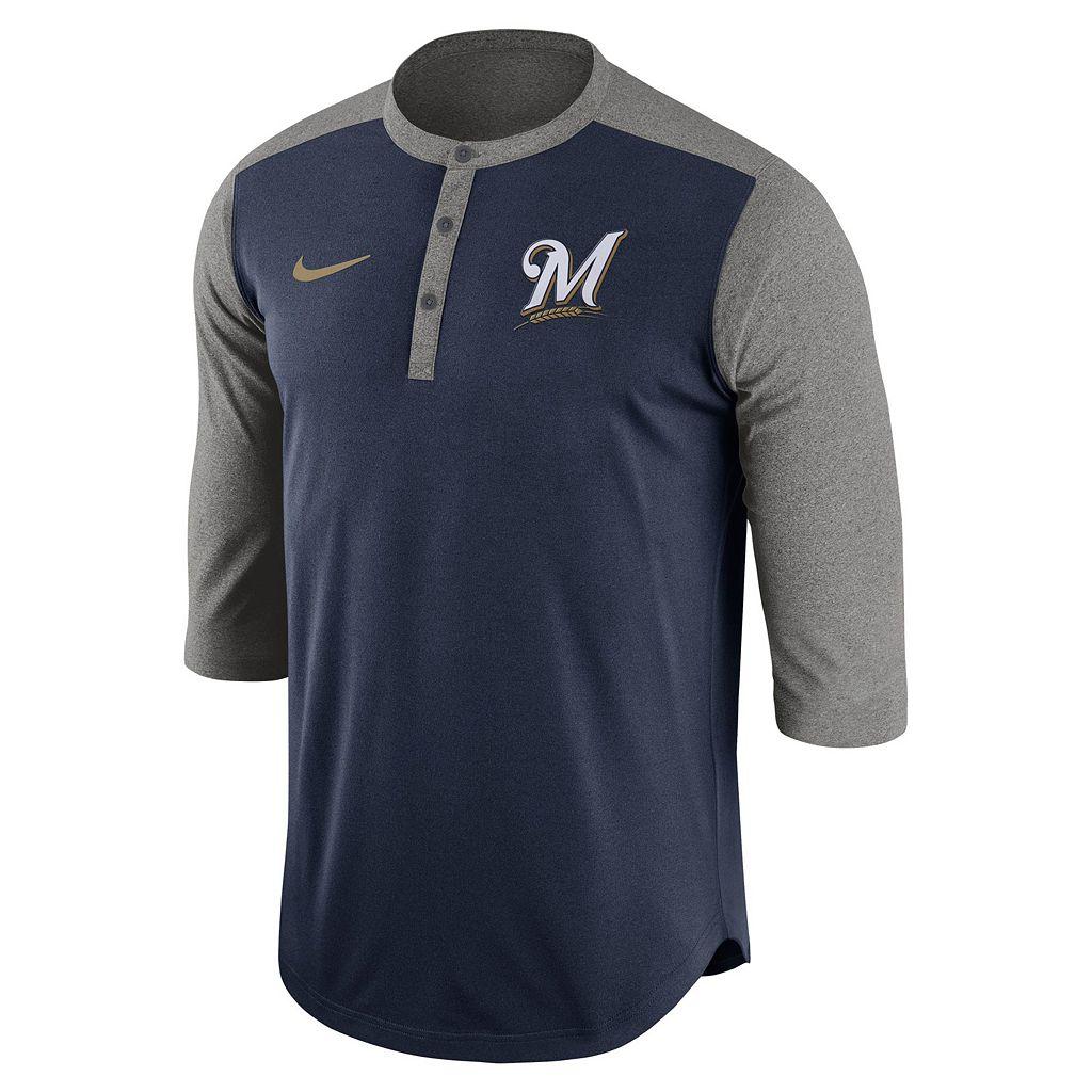Men's Nike Milwaukee Brewers Dri-FIT Henley