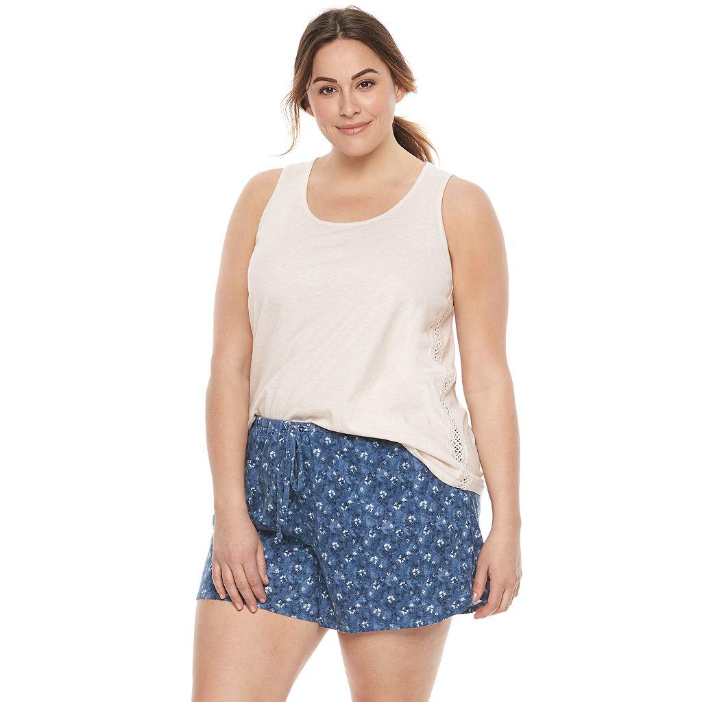Plus Size SONOMA Goods for Life™ Pajamas: Crochet Trim Tank & Shorts PJ Set