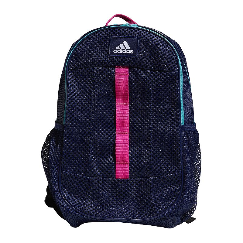 Adidas Hermosa Mesh Backpack, Blue Stay ready for class, practice and everything in between with this Adidas Hermosa mesh backpack. Durable built-to-last construction Spacious main zippered compartment with organization pocket Mesh design Side water bottle pocket Padded shoulder straps 12.25 H x 16 W x 19.5 D Weight: 0.75 lbs. Polyester Zipper closure Manufacturer's lifetime limited warrantyFor warranty information please click here Model no. 5143174 Size: One size. Color: Blue.