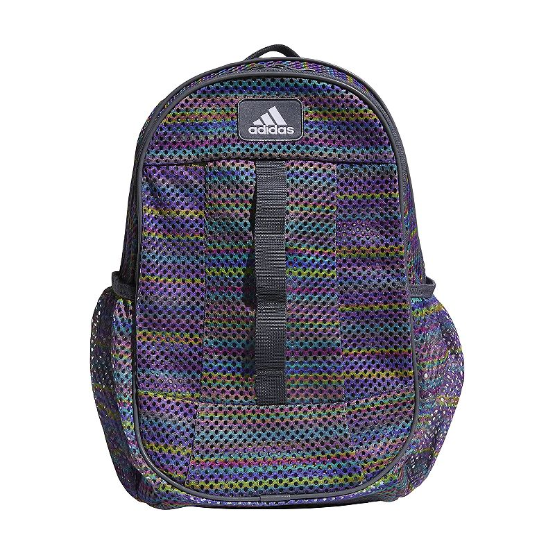 Adidas Hermosa Mesh Backpack, Multicolor Stay ready for class, practice and everything in between with this Adidas Hermosa mesh backpack. Durable built-to-last construction Spacious main zippered compartment with organization pocket Mesh design Side water bottle pocket Padded shoulder straps 12.25 H x 16 W x 19.5 D Weight: 0.75 lbs. Polyester Zipper closure Manufacturer's lifetime limited warrantyFor warranty information please click here Model no. 5143174 Size: One size. Color: Multicolor.
