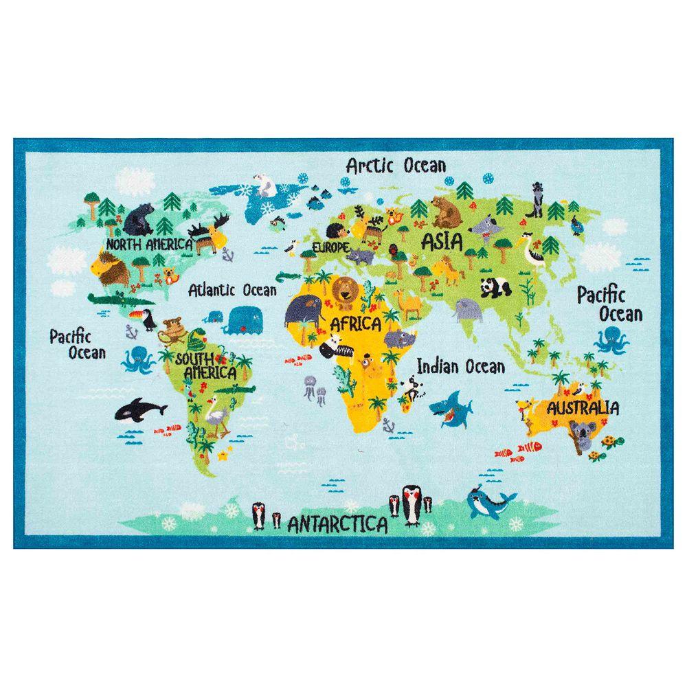 Giza Animal World Map Rug - Giza map