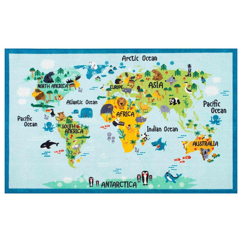 nuLOOM Giza Animal World Map Rug
