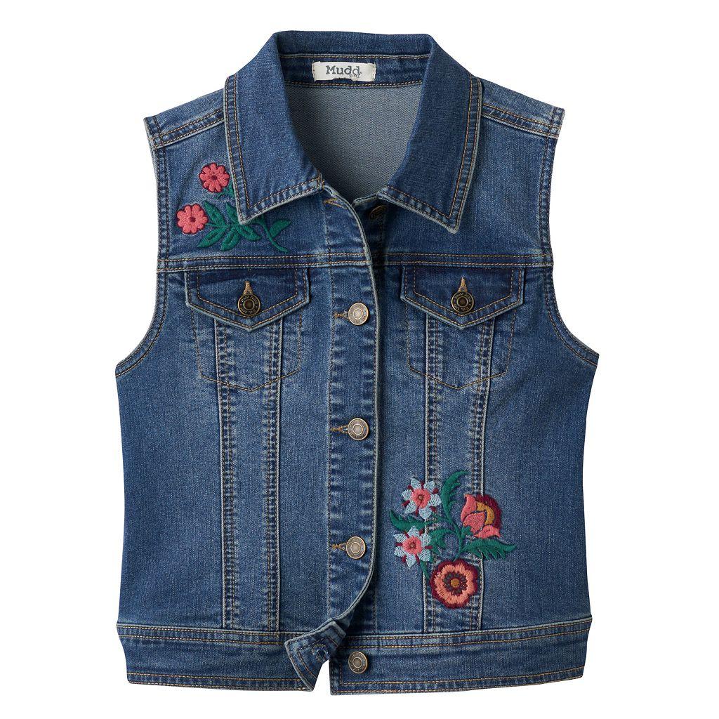Girls 7-16 & Plus Size Mudd® Floral Embroidered Denim Vest
