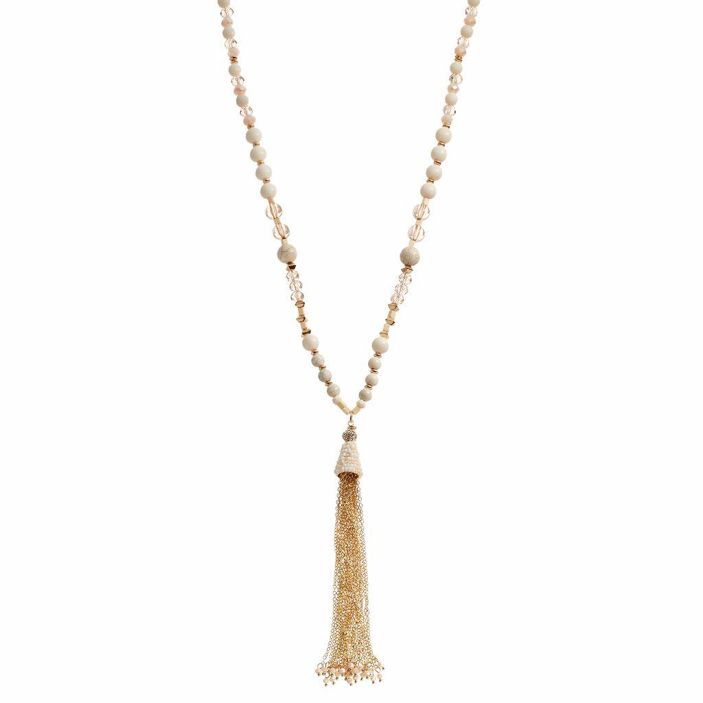Brown Bead Long Tassel Y Necklace