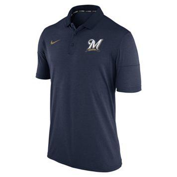 Men's Nike Milwaukee Brewers Heathered Dri-FIT Polo