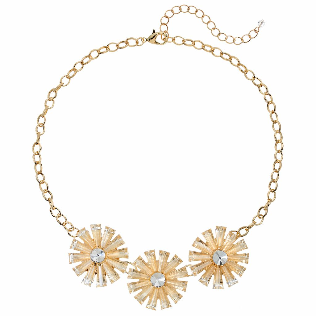 Triple Flower Statement Necklace