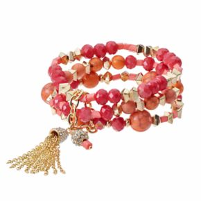 Red Bead Tassel Multi Strand Stretch Bracelet