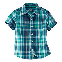 Toddler Boy OshKosh B'gosh® Short Sleeve Poplin Plaid Button-Down Shirt