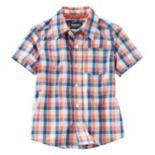 Toddler Boy OshKosh B'gosh® Short Sleeve Poplin Plaid Button-Down Shirt