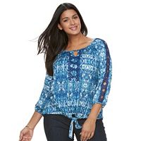 Plus Size French Laundry Ikat Tie-Front Top