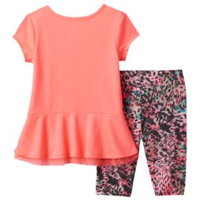 Toddler Girl adidas Ruffled Hem Top & Printed Capri Leggings Set