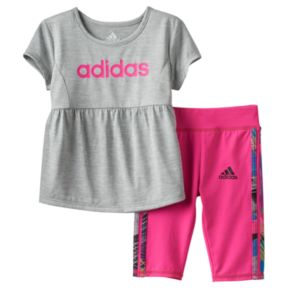 Toddler Girl adidas Babydoll Graphic Tunic & Capri Set