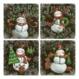 Chalkboard Snowmen Canvas Wall Art 4 pc Set