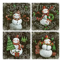 Chalkboard Snowmen Canvas Wall Art 4-piece Set