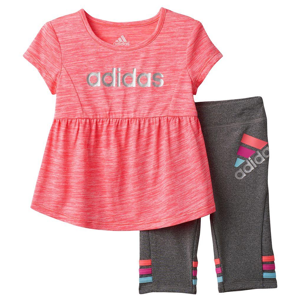 Toddler Girl adidas Shirred Heather Top & Capri Leggings Set