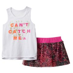 Toddler Girl adidas 'Can't Catch Me' Tank Top & Patterned Skort Set