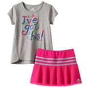 "Toddler Girl adidas ""I've Got this"" Graphic Tee & Mesh Skort Set"
