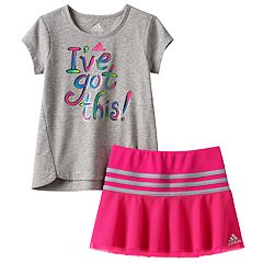 Toddler Girl adidas 'I've Got this' Graphic Tee & Mesh Skort Set