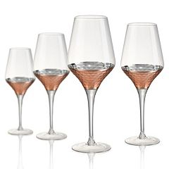 Artland Coppertino Hammer 4 pc Goblet Glass Set