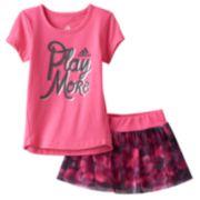 Toddler Girl adidas Graphic Tee & Mesh Skort Set