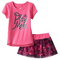 Toddler Girl adidas Graphic Tee & Mesh Skort Set