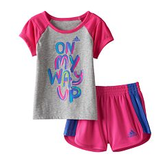 Toddler Girl adidas 'On My Way Up' Graphic Tee & Mesh Shorts Set