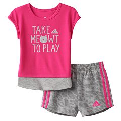 Toddler Girl adidas 'Take Meowt To Play' Graphic Tee & Shorts Set