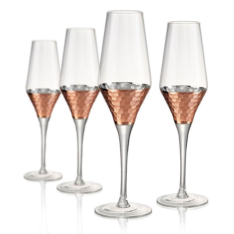 Artland Coppertino 4-pc. Hammer Champagne Flute Set, Multicolor