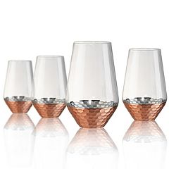 Artland Coppertino 4 pc Hammer Highball Glass Set