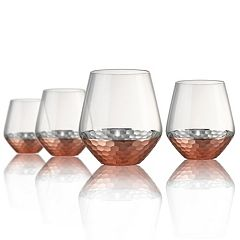 Artland Coppertino Hammer 4 pc Double Old-Fashioned Glass Set