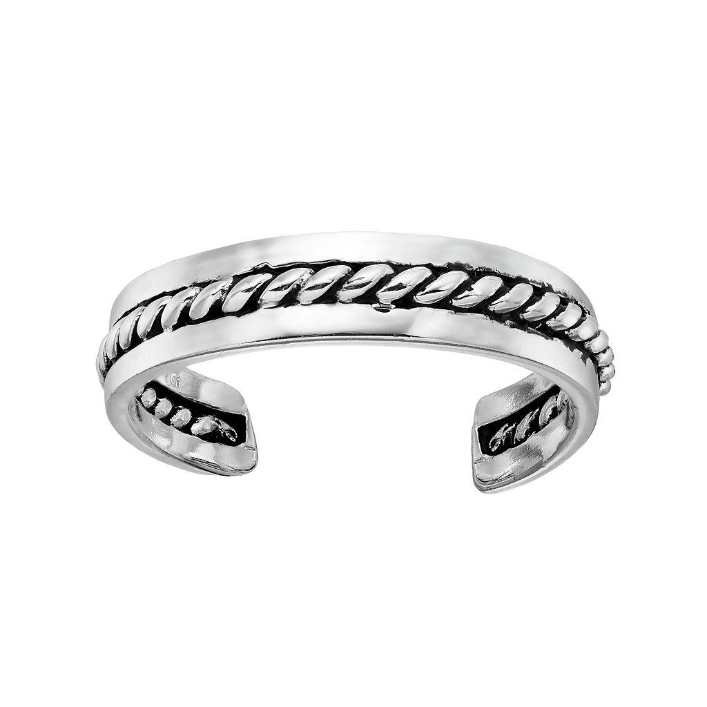 Barefootsies Silver Plated Rope Toe Ring