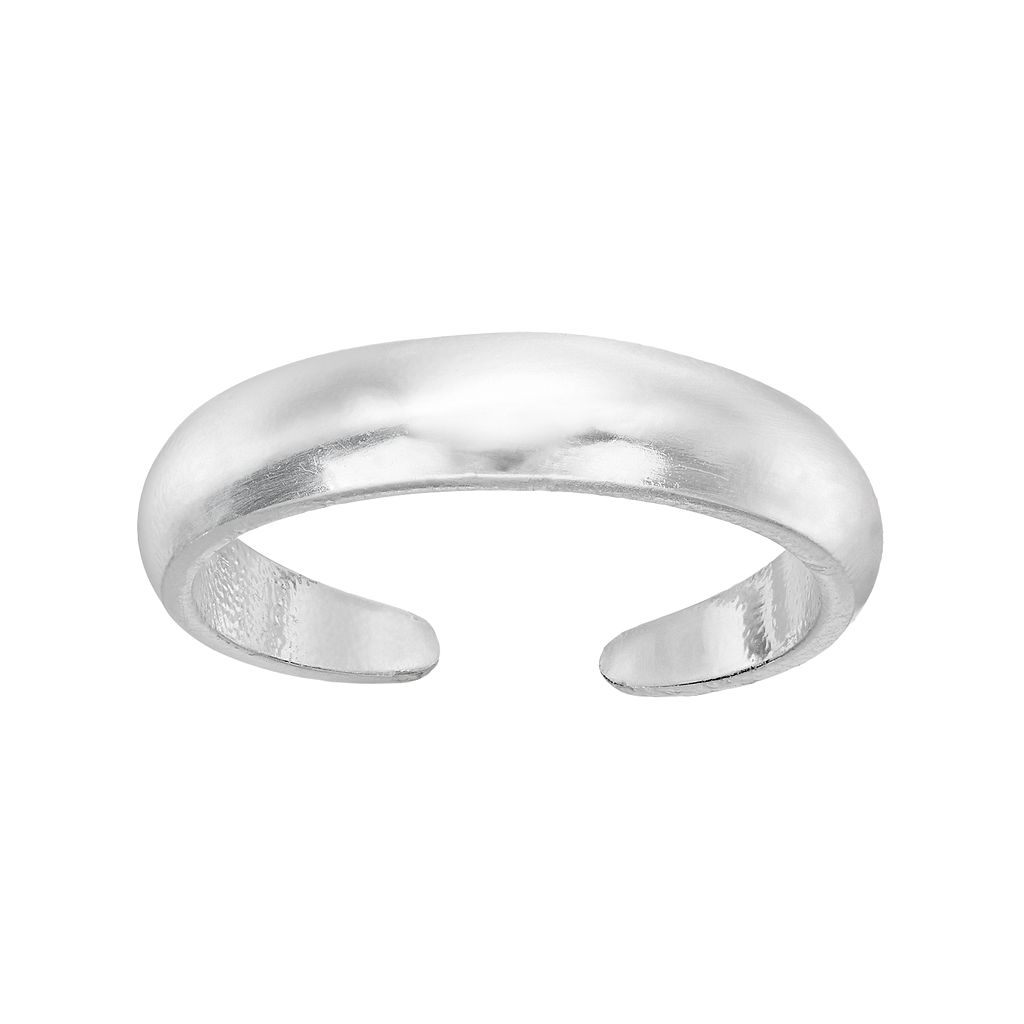 Barefootsies Silver Plated Polished Toe Ring