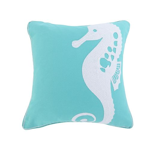 Del Ray Embroidered Seahorse Throw Pillow